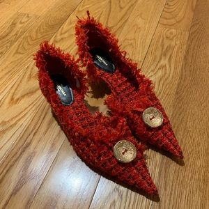 Sold BALENCIAGA Red Knife 40 Tweed Pumps 37